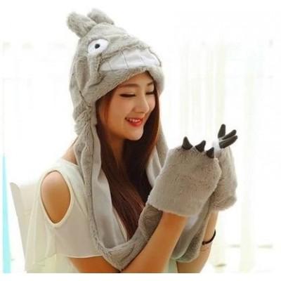 Totoro gorro 3 en 1 (Gorro, guantes y bufanda)