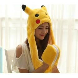 Pikachu gorro 3 en 1 (Gorro, guantes y bufanda)