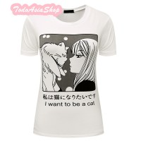 Camiseta Manga I want to be a Cat