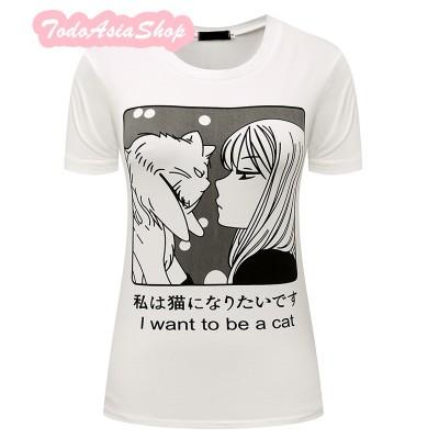 Camiseta Manga I want to be a Cat