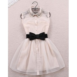 Precioso vestido de organza con cinturón